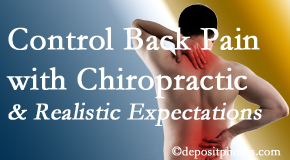 The Chiropractic TRUhealthDR helps patients set realistic goals and find some control of their back pain and neck pain so it doesn't necessarily control them.