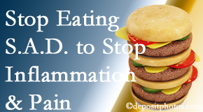 Colorado Springs chiropractic patients do well to avoid the S.A.D. diet to reduce inflammation and pain.
