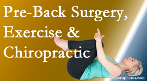 The Chiropractic TRUhealthDR offers beneficial pre-back surgery chiropractic care and exercise to physically prepare for and possibly avoid back surgery.
