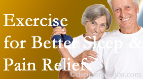 The Chiropractic TRUhealthDR incorporates the suggestion to exercise into its treatment plans for chronic back pain sufferers as it improves sleep and pain relief.