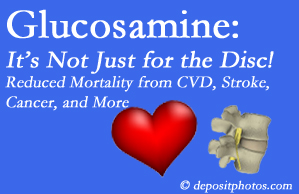 Colorado Springs health benefits from glucosamine use include reduced overall early mortality and mortality from cardiovascular issues.