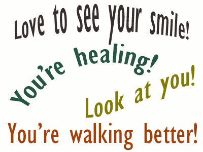 Use positive words to support your Colorado Springs loved one as he/she gets chiropractic care for relief.